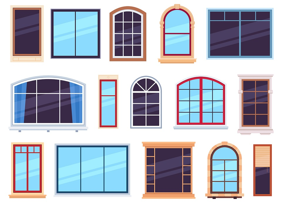 An image of variously shaped windows in cartoon-style designs.