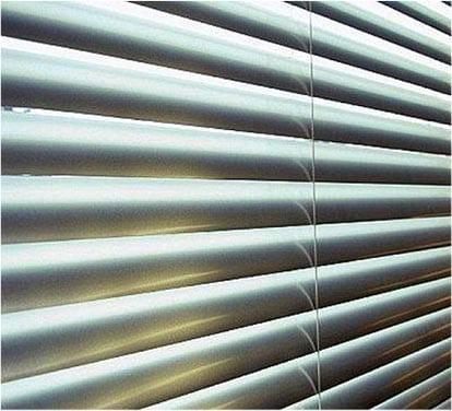 Close up on aluminium venetian blinds