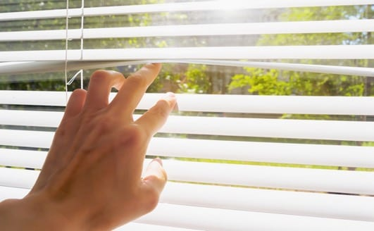 hand opens with fingers blinds, outside window there is sunlight and green trees