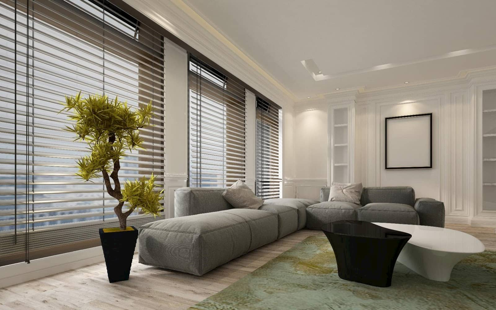 Fancy apartment living room interior with large floor to ceiling window venetian blinds and soft grey modular sofa
