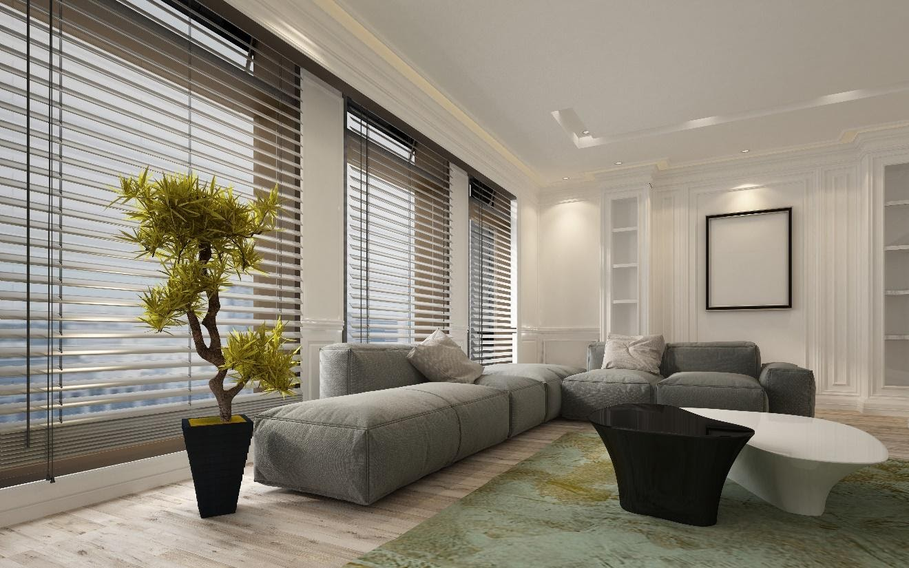 Fancy apartment living room interior with large floor to ceiling window venetian blinds and soft grey modular sofa.