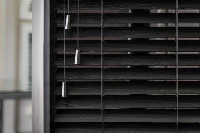 NZ Blinds classic Wooden Venetian Blinds in black.